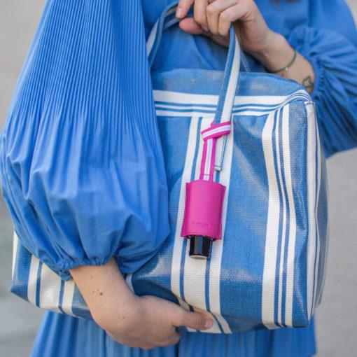 Handgel Taschenanhänger Tasche blaugestreift