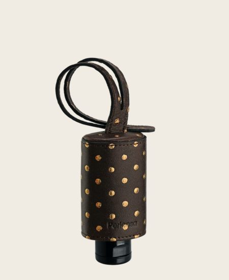 CarryME-Set TREND Nietenoptik gold braun Hand Gel Desinfektion Leder-Etui