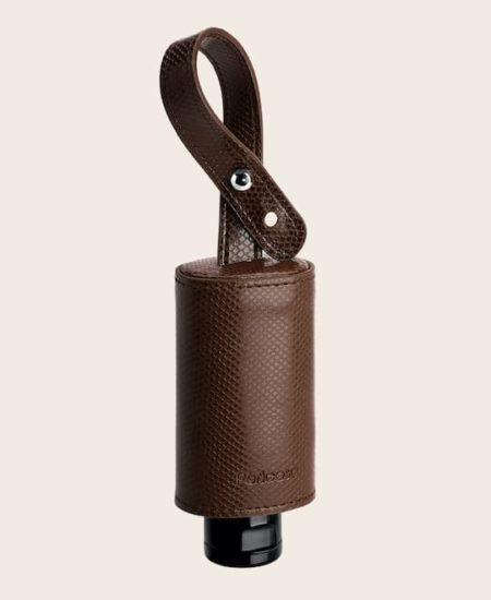 CarryME-Set TREND Schlange braun RefreshME Hand-Desinfektions Gel Leder-Etui