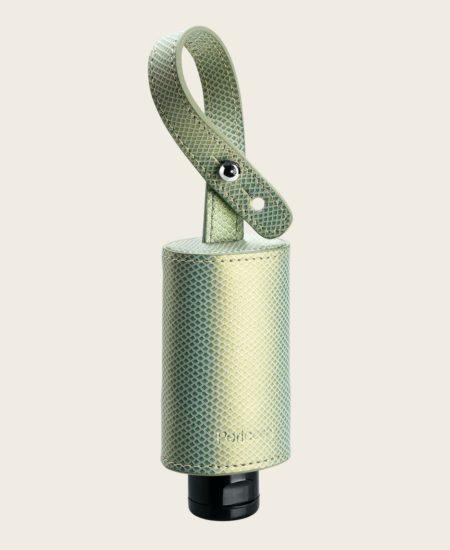 CarryME-Set TREND Schlange grün RefreshME Hand-Gel Desinfektion Leder Etui