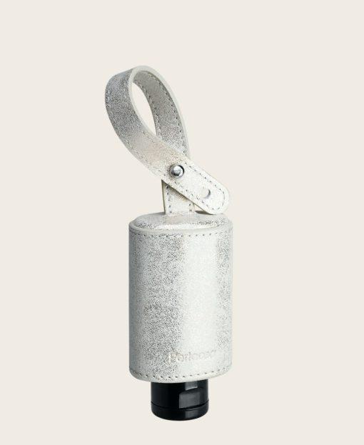 CarryME-Set TREND silver gold Hände Desinfektion Leder Etui