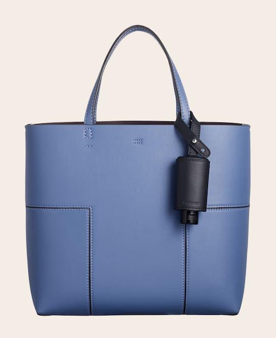 CarryME-Set CLASSIC schwarz Tasche blau Handgel Leder-Taschenanhänger