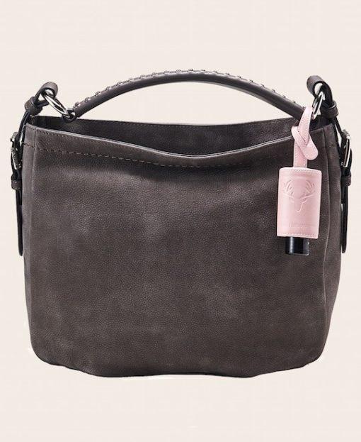 Hygiene Handgel Taschananhänger Tracht rose Tasche grau