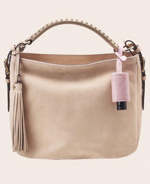 Hygiene Handgel Taschenanhänger Tracht rose Tasche creme