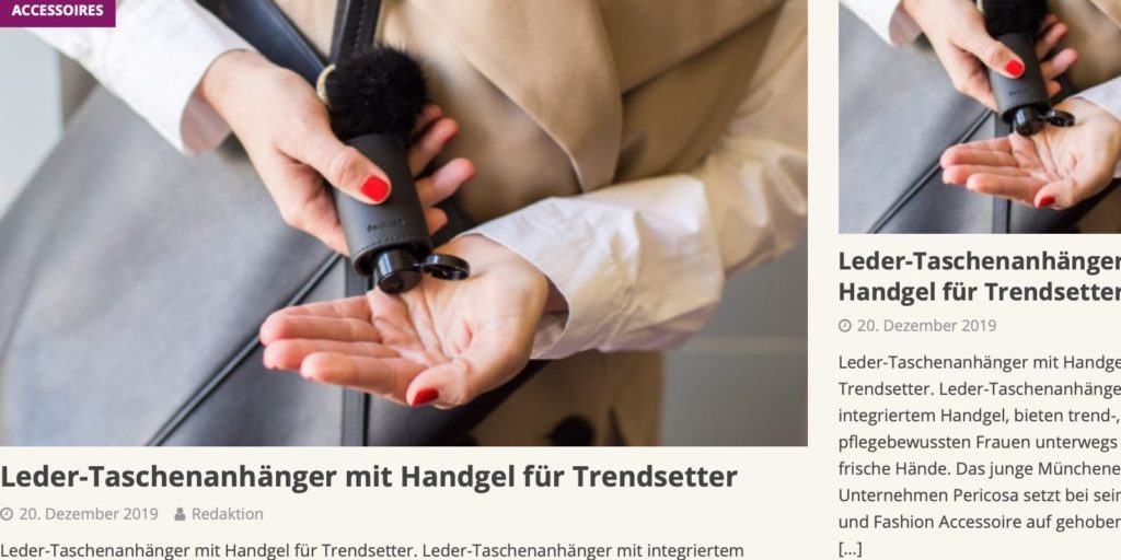 Hygiene Hand Gel im Leder-Etui: Parfümerie Trend