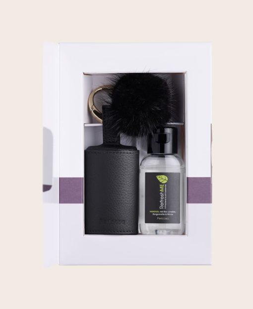 Hygiene Handgel RefreshME Leder-Etui Verpackung CarryME-Set Deluxe