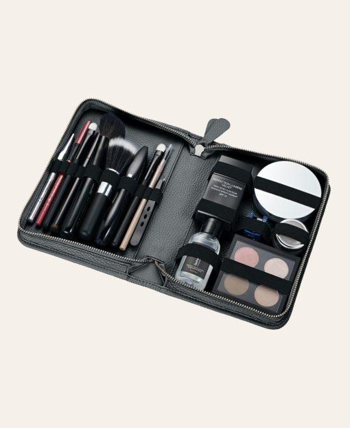 Make-up Tasche Leder grau offen Pericosa