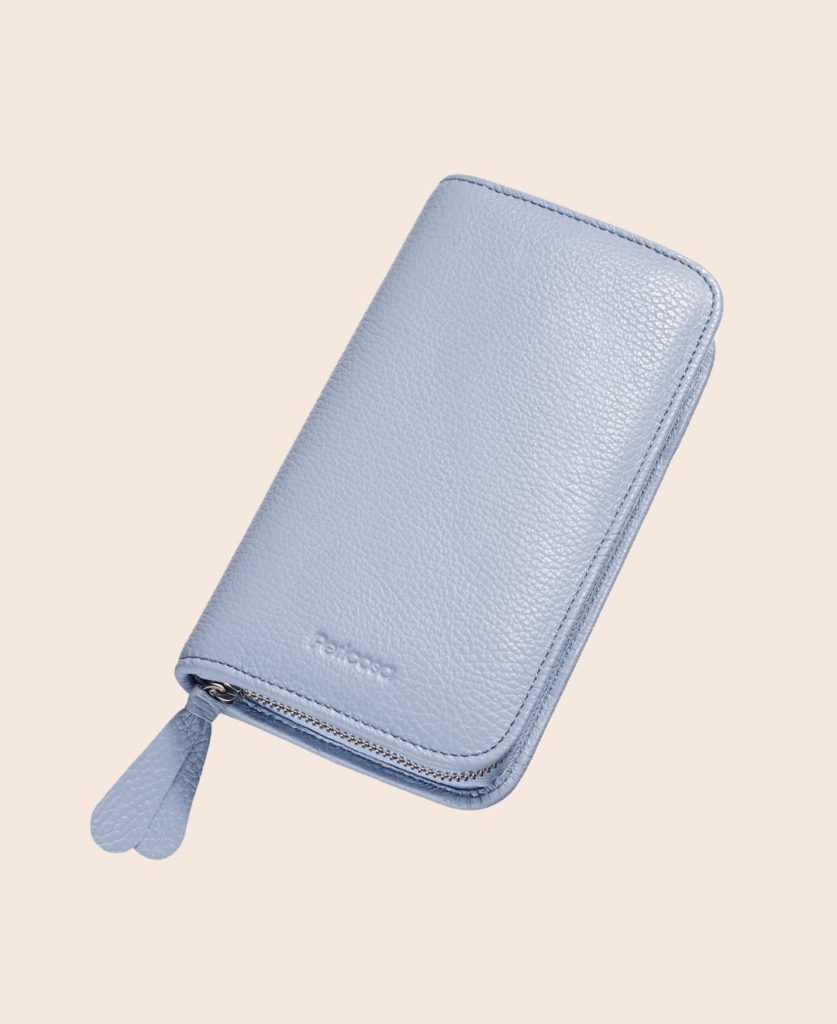 Makeup Tasche Leder hellblau klein Pericosa