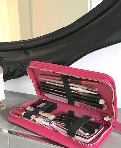 Makeup Tasche klein Leder mit Fächern Pericosa