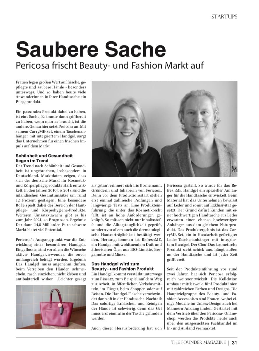 Pericosa RefreshME Handgel Leder-Etui Gründer Magazin