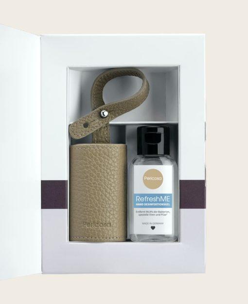 RefreshME Hände Desinfektionsgel Leder Etui Verpackung