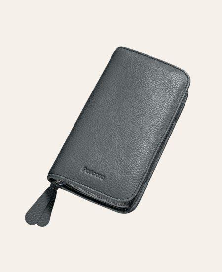 Schmink-Tasche Leder grau klein Pericosa